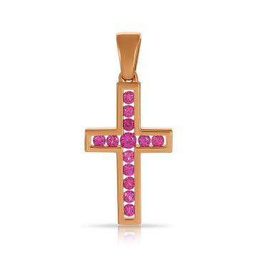 Подвеска-крестик из золота с рубинами