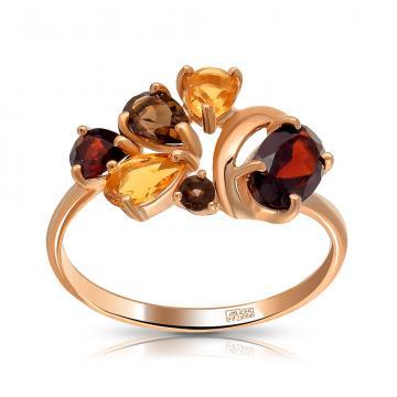 Кольцо SOKOLOV из золота с гранатом, раух-топазами и цитринами