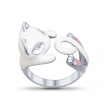 Кольцо SOKOLOV Кошка из серебра с эмалью и фианитами