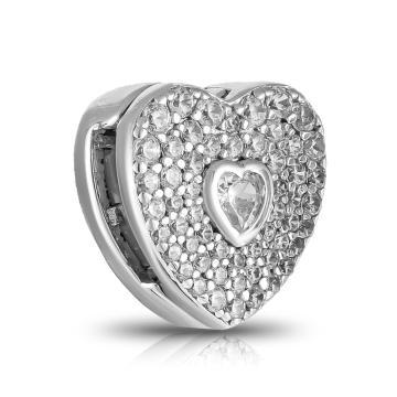 Подвеска-шарм Сердце из серебра с фианитами