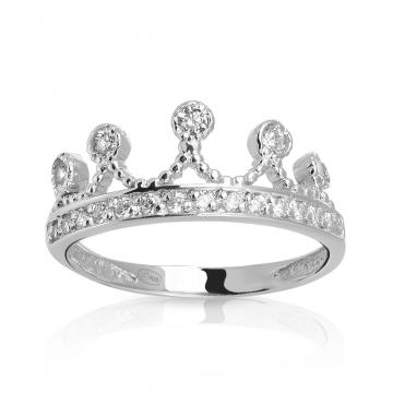Кольцо Корона с фианитами из серебра