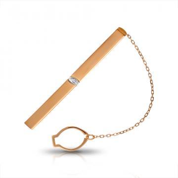 Зажим для галстука из золота с бриллиантом