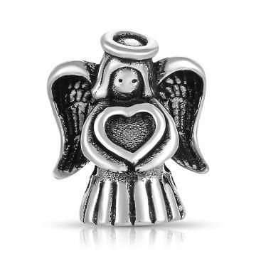 Подвеска-шарм Ангел с сердцем из серебра
