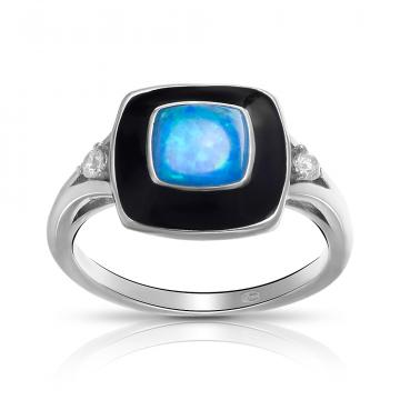 Кольцо из серебра с опалом, эмалью и фианитами