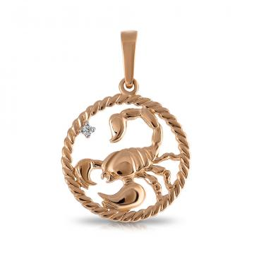 Подвеска TALANT из золота с фианитом, знак зодиака Скорпион