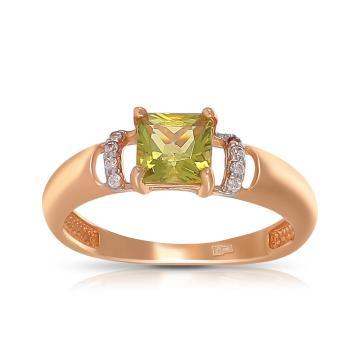 Кольцо TALANT из золота с хризолитом и фианитами