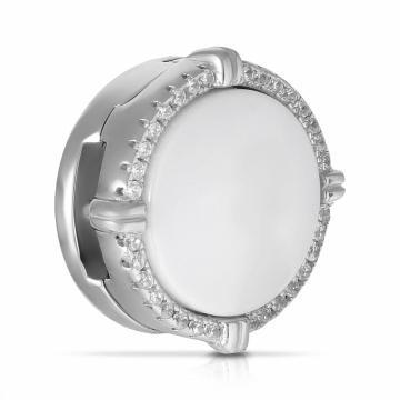 Подвеска-шарм из серебра с керамикой и фианитами
