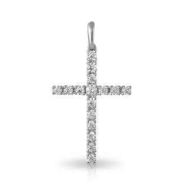 Подвеска-крестик из серебра с фианитами