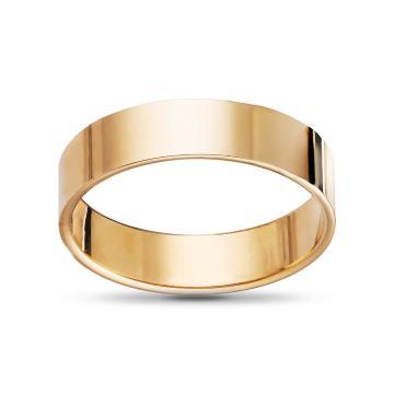 Кольцо обручальное из золота гладкое плоское