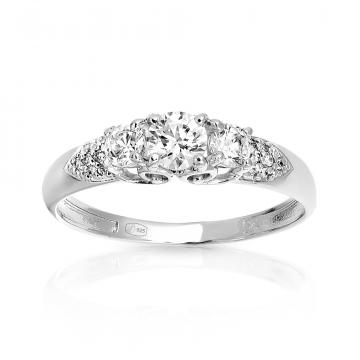 Кольцо из серебра с кристаллом SWAROVSKI и фианитами
