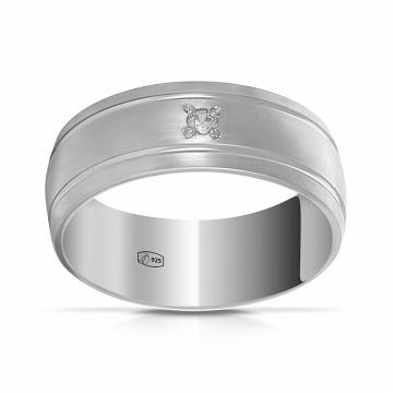 Кольцо обручальное из серебра с фианитом