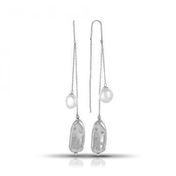 Серьги-продевки из серебра с барочным жемчугом и фианитами