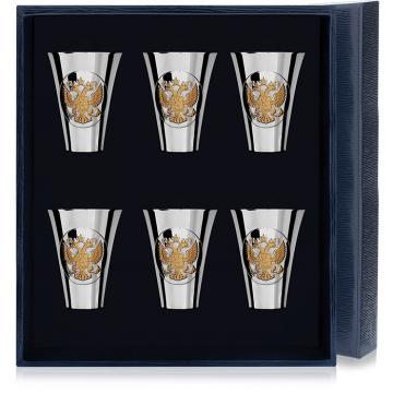 Набор серебряных стопок Герб полированных с позолотой (6 предметов)