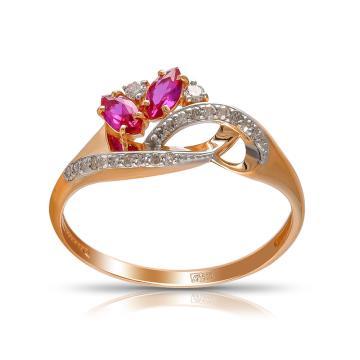 Кольцо TALANT из золота с рубинами и бриллиантами