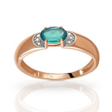 Кольцо из золота с агатом и фианитами