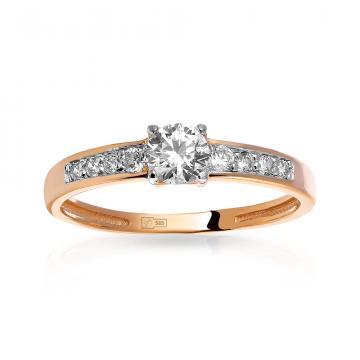 Кольцо из золота с муассанитами (аналог бриллианта)