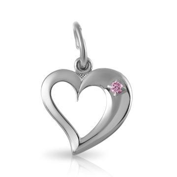 Подвеска Сердце из серебра с ювелирным кристаллом