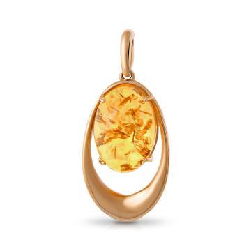 Подвеска из золота с янтарем