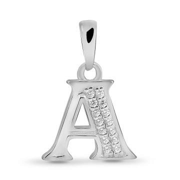 Подвеска буква А из серебра с фианитами