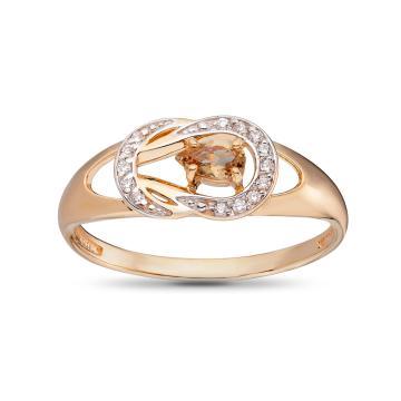 Кольцо из золота с султанитом и фианитами