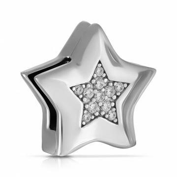 Подвеска-шарм Звездочка из серебра с фианитами