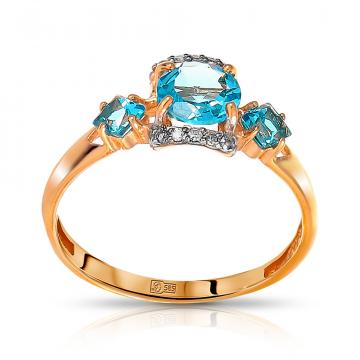 Кольцо из золота с топазами и бриллиантами
