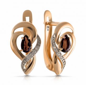 Серьги из золота с раух-топазом и фианитами