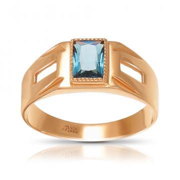 Кольцо-печатка из золота с топазом