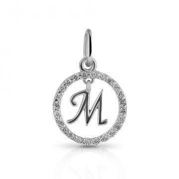 Подвеска буква М из серебра с фианитами