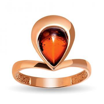 Кольцо из золота с янтарем