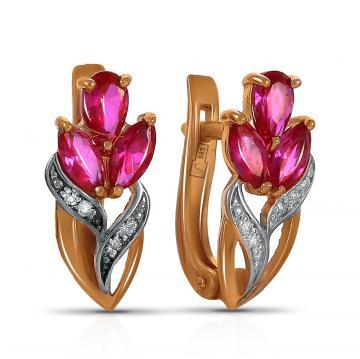Серьги TALANT из золота с рубинами и бриллиантами