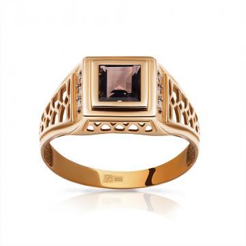 Кольцо-печатка из золота с раух-топазом и бриллиантами