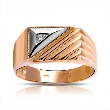 Кольцо-печатка из золота с фианитом