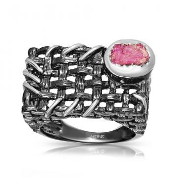 Кольцо из серебра с рубином, коллекция Калипсо