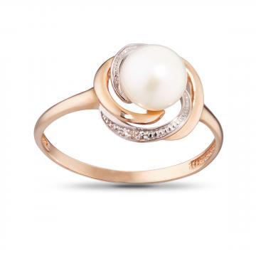 Кольцо из золота с жемчугом и бриллиантами