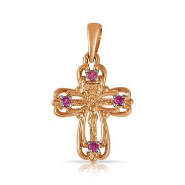 Крестик из золота с рубинами