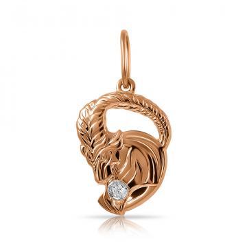 Подвеска из золота с фианитом, знак зодиака Козерог