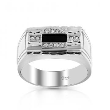 Кольцо-печатка из серебра с ониксом и фианитами