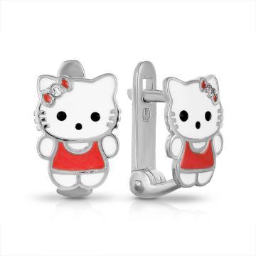 Серьги детские из серебра с эмалью и фианитами
