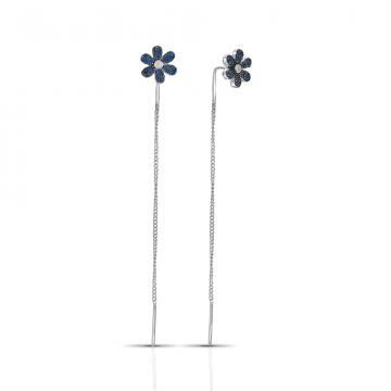 Серьги-продевки Цветы из серебра с фианитами