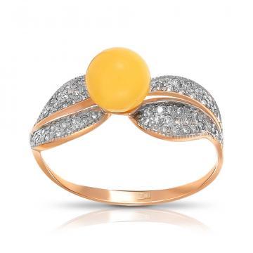 Кольцо из золота с янтарем и фианитами