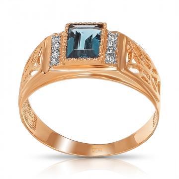 Кольцо-печатка из золота с топазом и фианитами