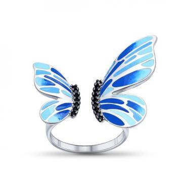 Кольцо из серебра Бабочка SOKOLOV с эмалью и фианитами