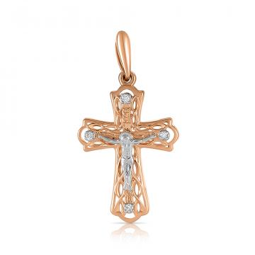 Крестик из золота с бриллиантами