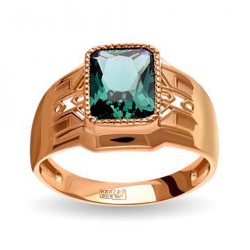 Кольцо-печатка из золота с турмалином