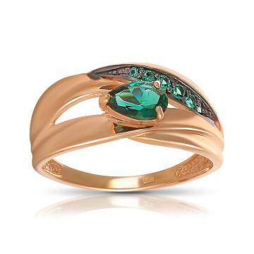 Кольцо из золота с турмалином и фианитами