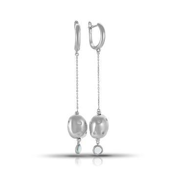 Серьги из серебра с ситаллами и фианитами