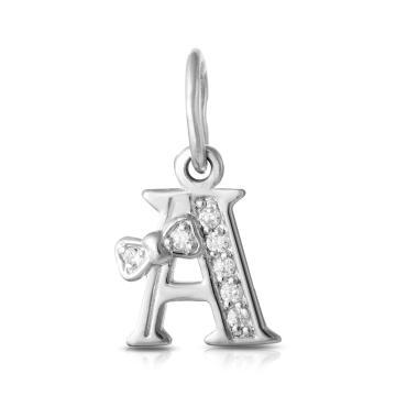 Подвеска буква А с фианитами из серебра