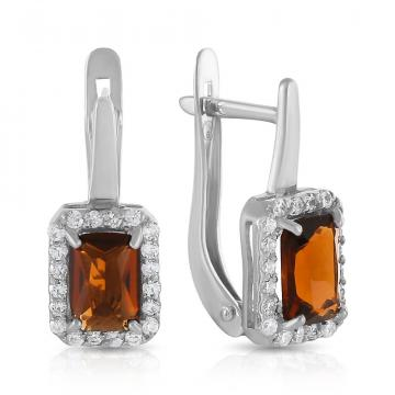Серьги из серебра с ювелирными кристаллами и фианитами