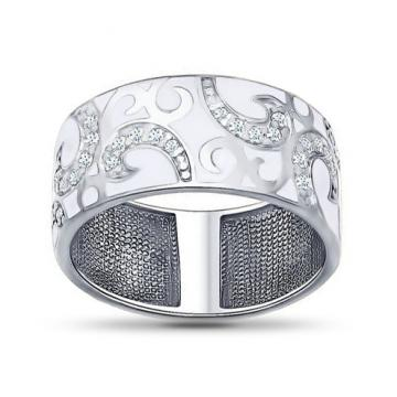 Кольцо SOKOLOV из серебра с эмалью и фианитами